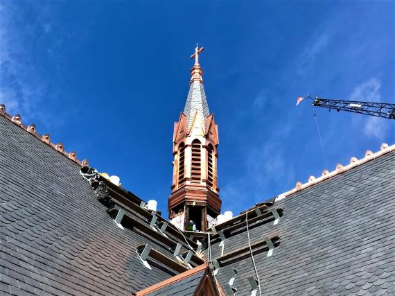 church spire restoration completed, gleaming copper