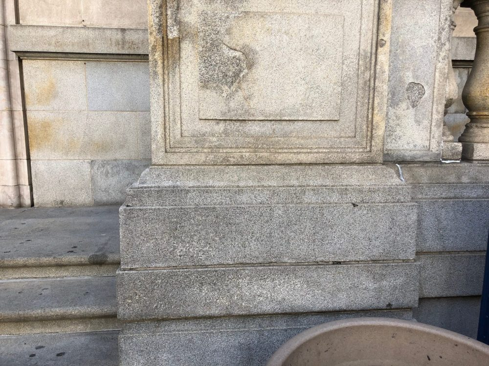 Possible checmical damage from graffiti removal from historic building