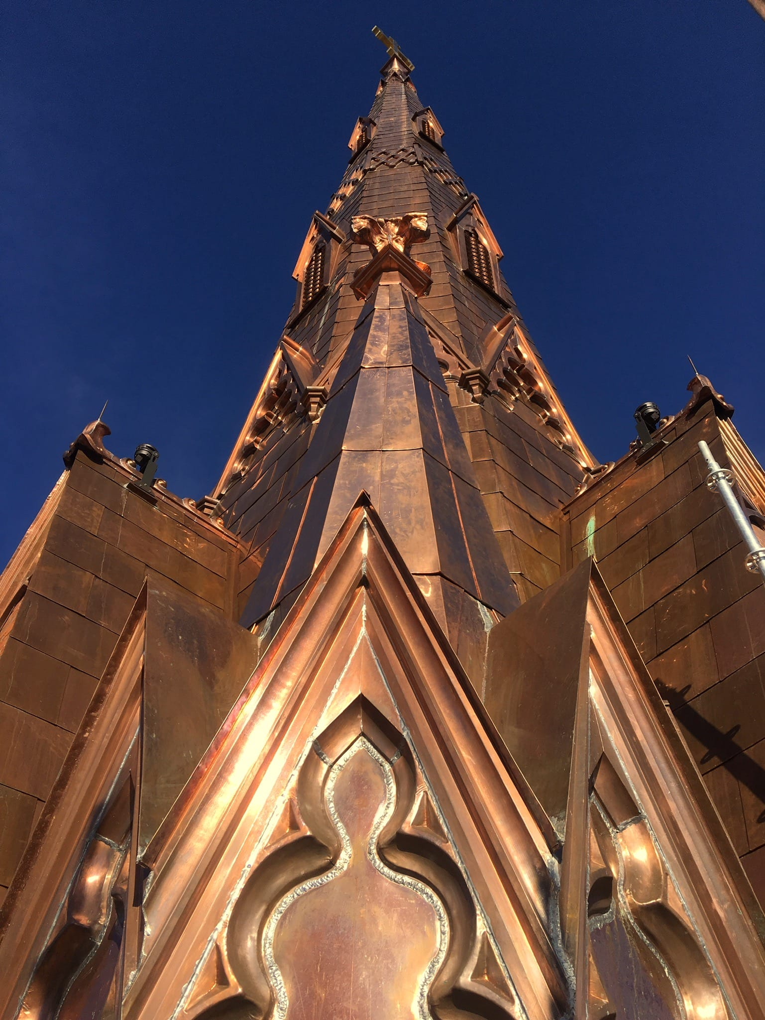 steeple square in iowa copper spire when viewed from below